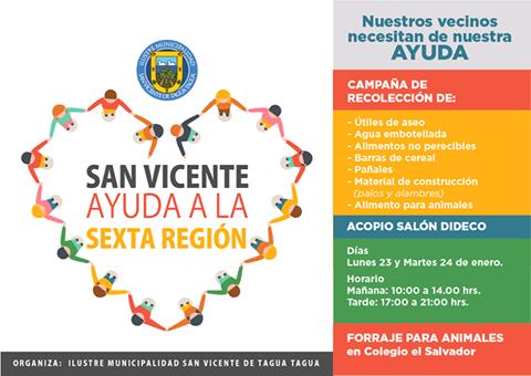 Lunes 23 y martes 24 estaremos recibiendo aportes para la CAMPAÑA, SAN VICENTE  AYUDA A LA SEXTA REGIÓN