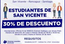 30% DESCUENTO- BENEFICIO PARA ESTUDIANTES DE NUESTRA COMUNA