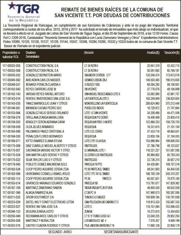 2da nómina de remate publicada el día martes 11 de septiembre en Diario El Rancagüino