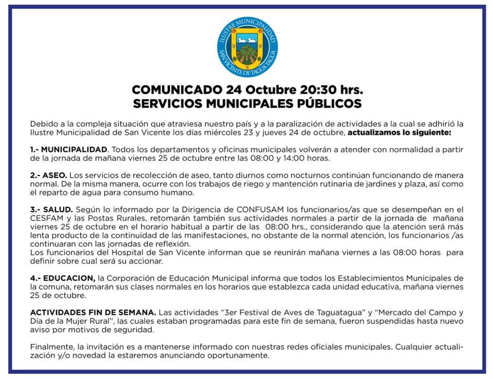 MUNICIPALIDAD INFORMA CONTINGENCIA VIERNES 25 DE OCTUBRE