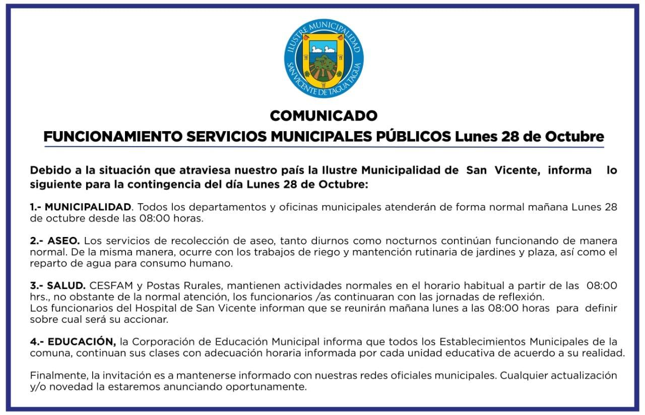 COMUNICADO OFICIAL FUNCIONAMIENTO SERVICIOS MUNICIPALES PÚBLICOS LUNES 28 DE OCTUBRE