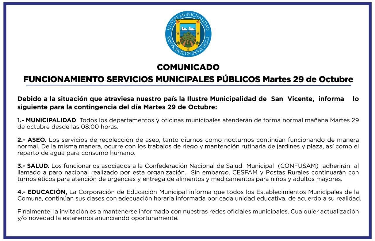 #AHORA  COMUNICADO OFICIAL FUNCIONAMIENTO SERVICIOS MUNICIPALES PÚBLICOS MARTES 29 DE OCTUBRE