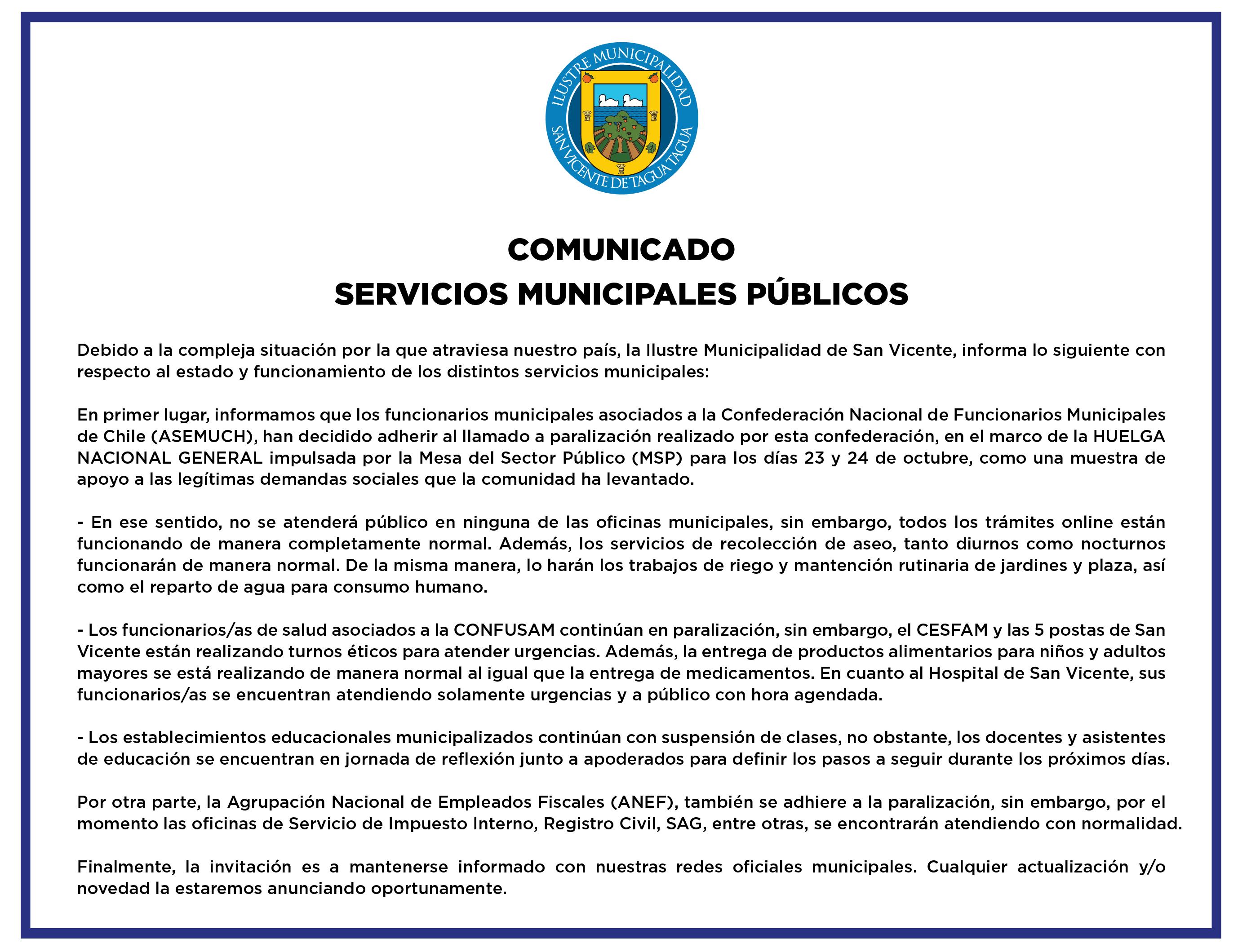#AHORA | COMUNICADO SERVICIOS MUNICIPALES PÚBLICOS