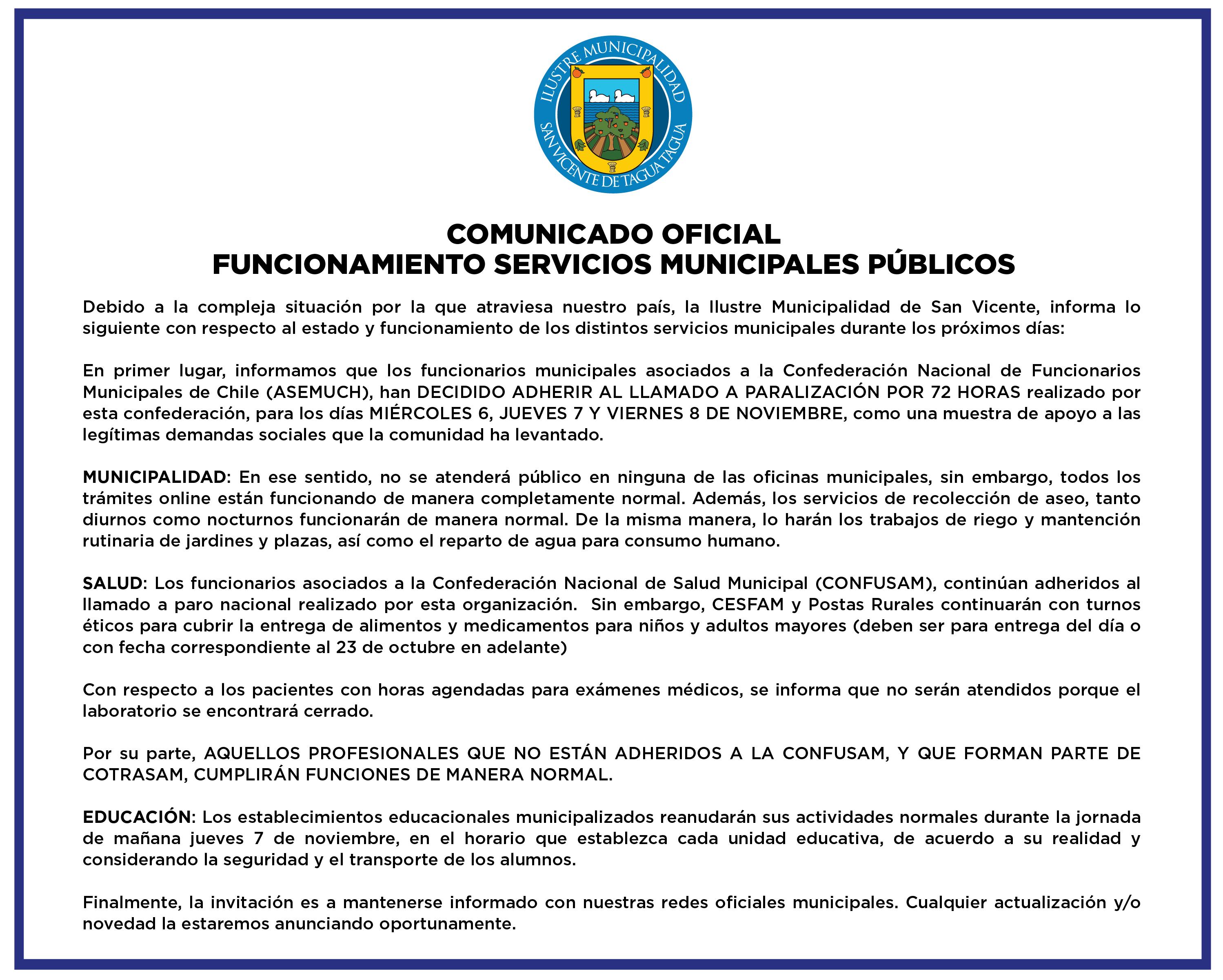 #AHORA| COMUNICADO OFICIAL FUNCIONAMIENTO SERVICIOS MUNICIPALES PÚBLICOS