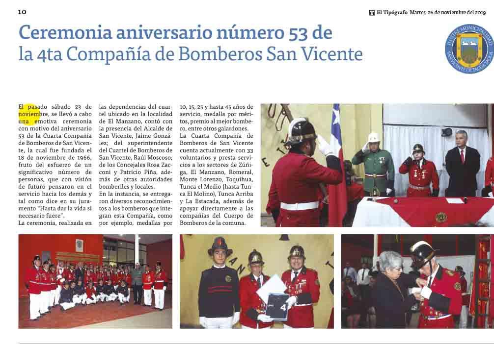 El Tipógrafo| CEREMONIA ANIVERSARIO NÚMERO 53 DE LA 4TA COMPAÑÍA DE BOMBEROS SAN VICENTE