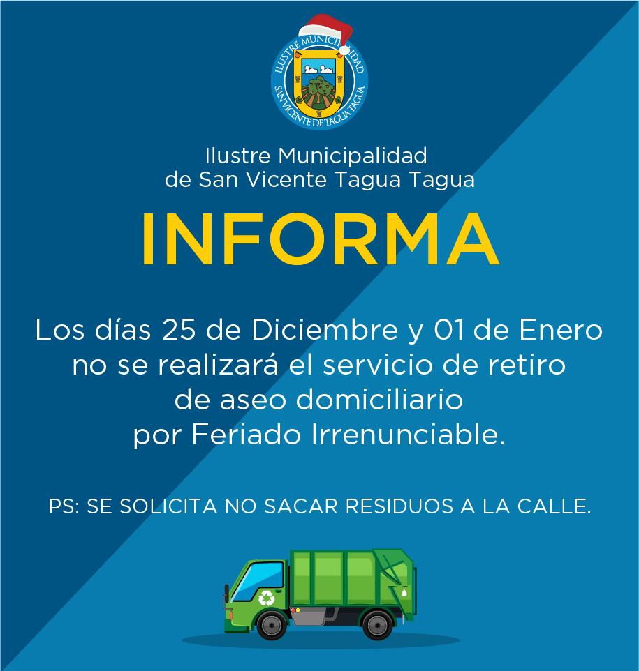 SUSPENSIÓN DEL SERVICIO DE RETIRO DE ASEO DOMICILIARIO
