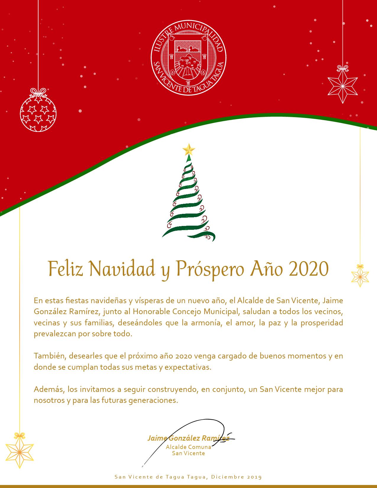 ‼️FELIZ NAVIDAD Y PRÓSPERO AÑO 2020 LES DESEA EL ALCALDE JAIME GONZÁLEZ Y EL HONORABLE CONCEJO MUNICIPAL‼️🎁🎁🎁🌠🌠🌠