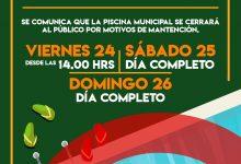 PISCINA MUNICIPAL CERRARÁ ESTE FIN DE SEMANA POR MANTENCIÓN
