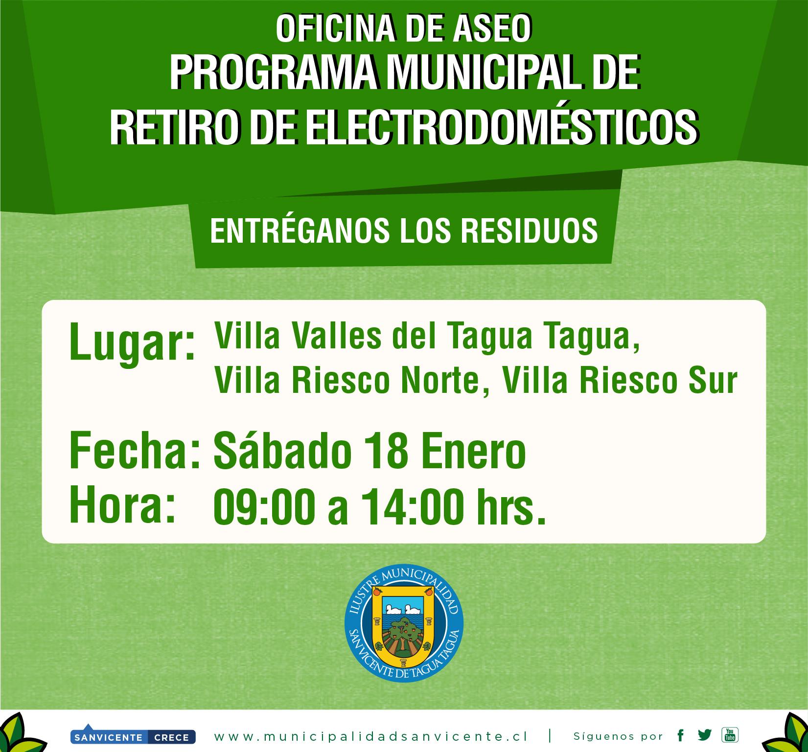 PROGRAMA MUNICIPAL DE RETIRO DE ELECTRODOMÉSTICOS Y MATERIAL RECICLABLE 2020