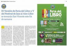 #ELTIPÓGRAFO  III VERSIÓN DE FERIA DEL LIBRO Y V DEL FESTIVAL DE JAZZ AL AIRE LIBRE SE TOMARÁN SAN VICENTE ESTE FIN DE SEMANA