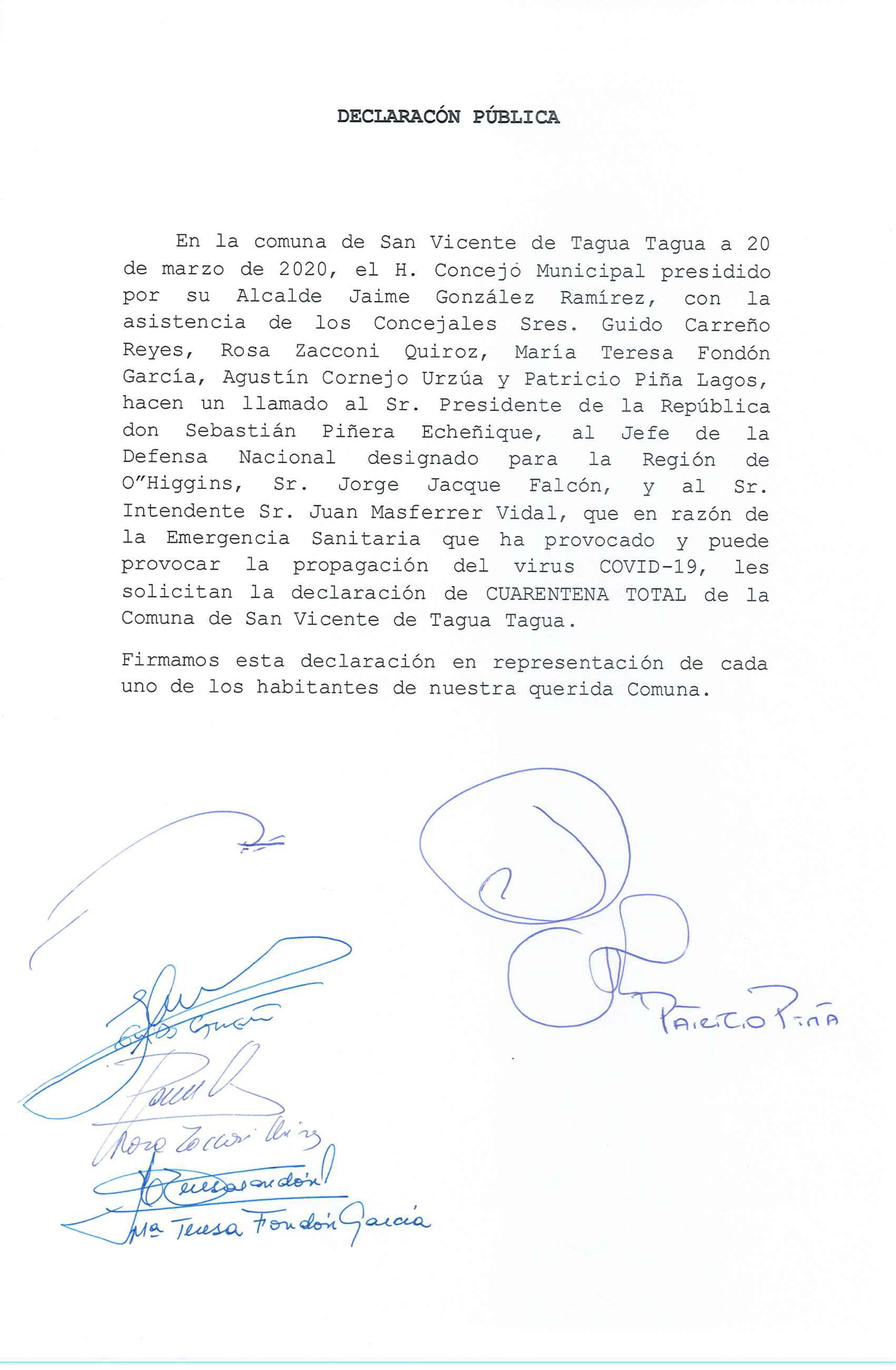 EL ALCALDE JAIME GONZÁLEZ JUNTO A LOS CONCEJALES HAN SOLICITADO AL JEFE DE DEFENSA NACIONAL REGIÓN DE O'HIGGINS, JORGE JACQUE, DECRETAR CUARENTENA TOTAL PARA LA COMUNA DE SAN VICENTE DE TAGUA TAGUA
