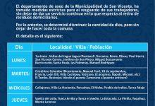 DEPARTAMENTO DE ASEO INFORMA DÍA, LOCALIDAD / VILLA / POBLACIÓN DE RECORRIDOS DE RETIRO DE ASEO DOMICILIARIO