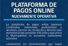 PLATAFORMA DE PAGOS ONLINE NUEVAMENTE OPERATIVA