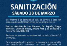 SE INFORMA SANITIZACIÓN PROGRAMADA PARA HOY SÁBADO 28 DE MARZO