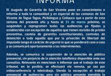 JUZGADO DE GARANTÍA DE SAN VICENTE INFORMA FUNCIONAMIENTO EN CONTINGENCIA DE CORONAVIRUS COVID-19
