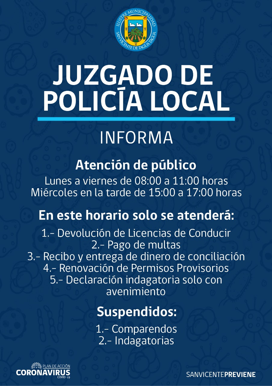 ACTUALIZACIÓN   JUZGADO DE POLICÍA LOCAL INFORMA FUNCIONAMIENTO EN CONTINGENCIA DE CORONAVIRUS COVID-19