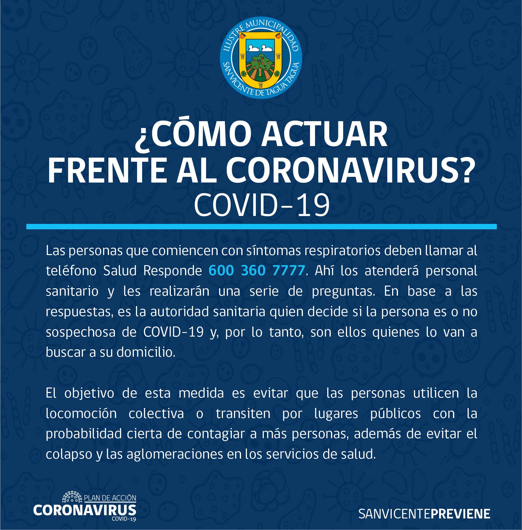 ¿CÓMO ACTUAR FRENTE AL CORONAVIRUS COVID-19?