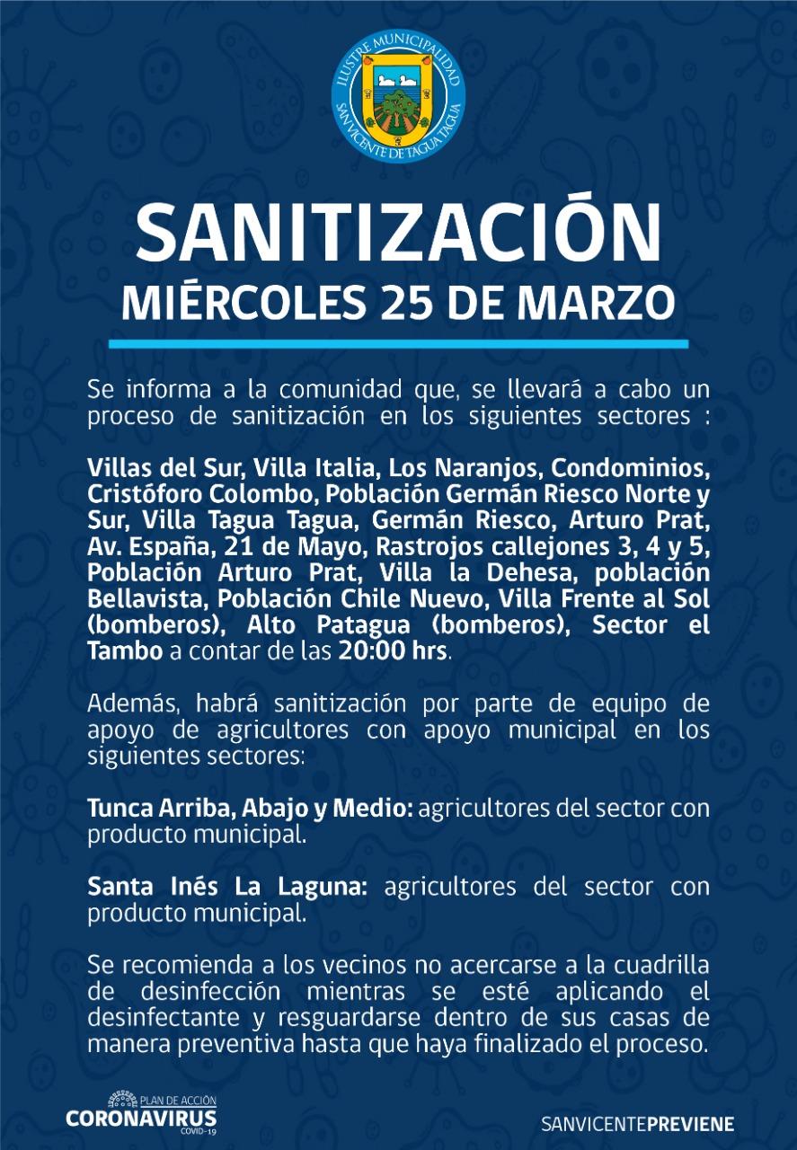 SE INFORMA SANITIZACIÓN PROGRAMADA PARA HOY MIÉRCOLES 25 DE MARZO