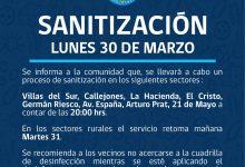 SE INFORMA SANITIZACIÓN PROGRAMADA PARA HOY LUNES 30 DE MARZO