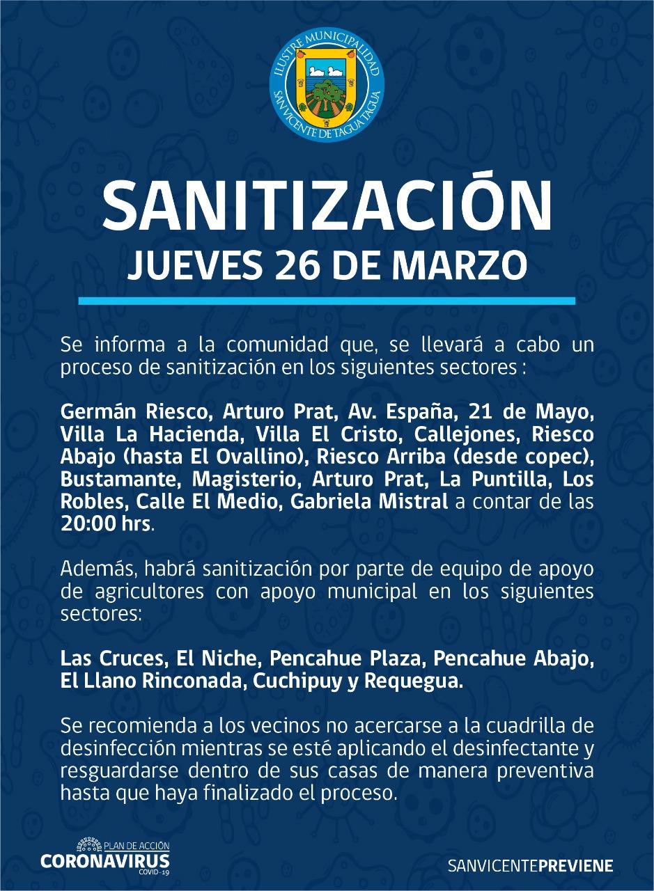 SE INFORMA SANITIZACIÓN PROGRAMADA PARA HOY JUEVES 26 DE MARZO