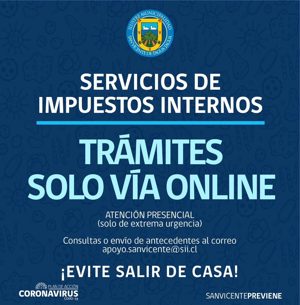 SERVICIOS DE IMPUESTOS INTERNOS: TRÁMITES SOLO VÍA ONLINE