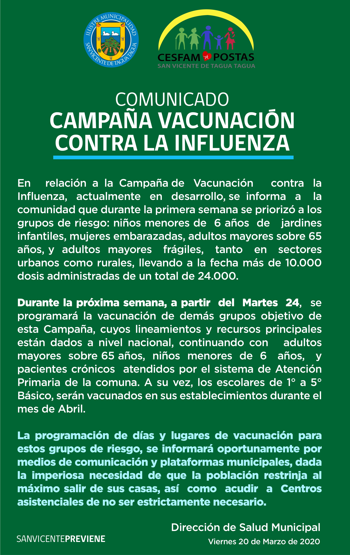 DEPARTAMENTO DE SALUD MUNICIPAL INFORMA   COMUNICADO CAMPAÑA DE VACUNACIÓN CONTRA LA INFLUENZA