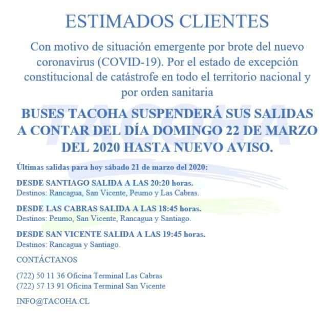 BUSES TACOHA INFORMA SUSPENSIÓN DE SUS SALIDAS A CONTAR DE MAÑANA DOMINGO 22 DE MARZO HASTA NUEVO AVISO