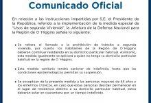 COMUNICADO OFICIAL JEFATURA DE LA DEFENSA NACIONAL REGIÓN DE O'HIGGINS