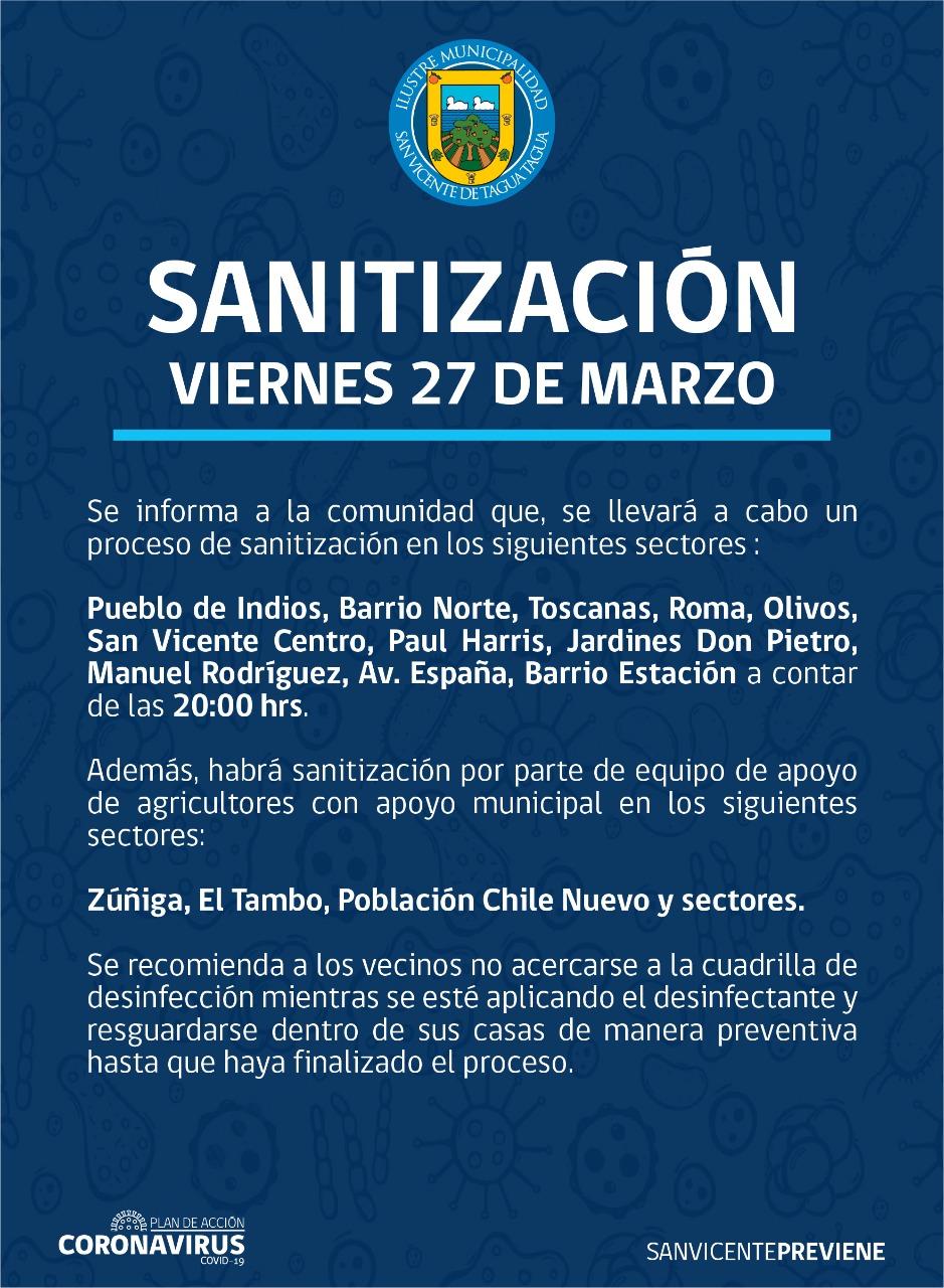 SE INFORMA SANITIZACIÓN PROGRAMADA PARA HOY VIERNES 27 DE MARZO