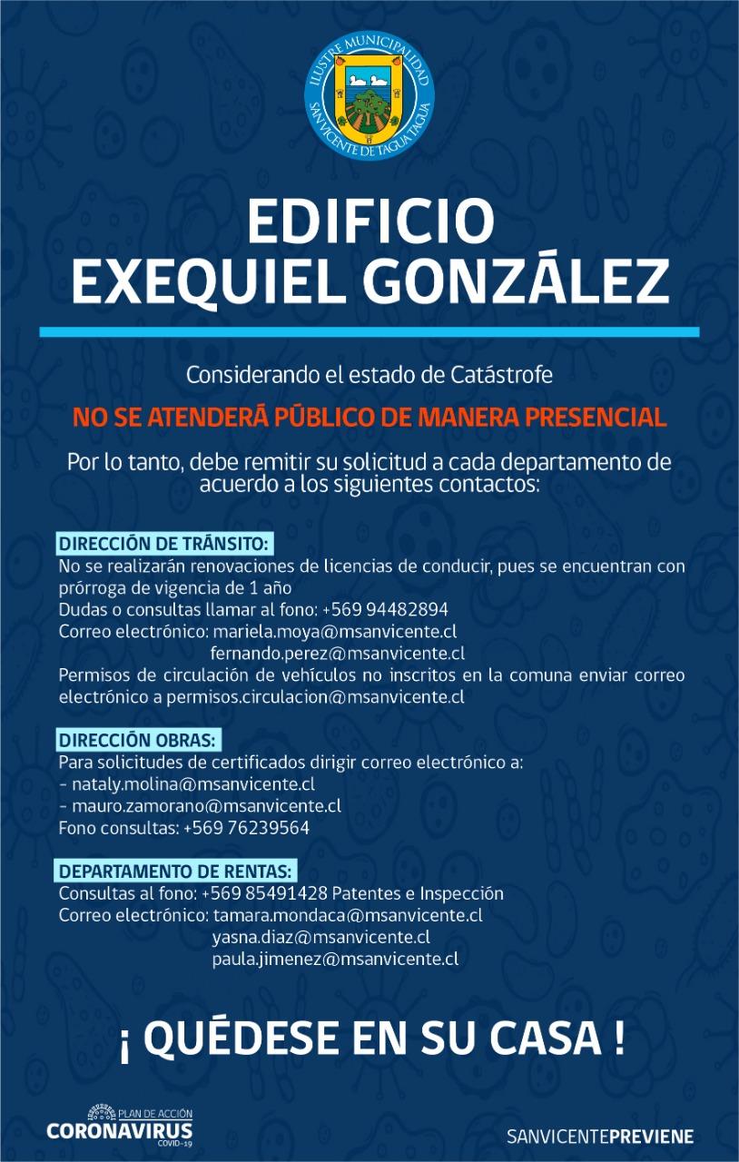 ACTUALIZACIÓN   FUNCIONAMIENTO DEL EDIFICIO MUNICIPAL DE CALLE EXEQUIEL GONZÁLEZ