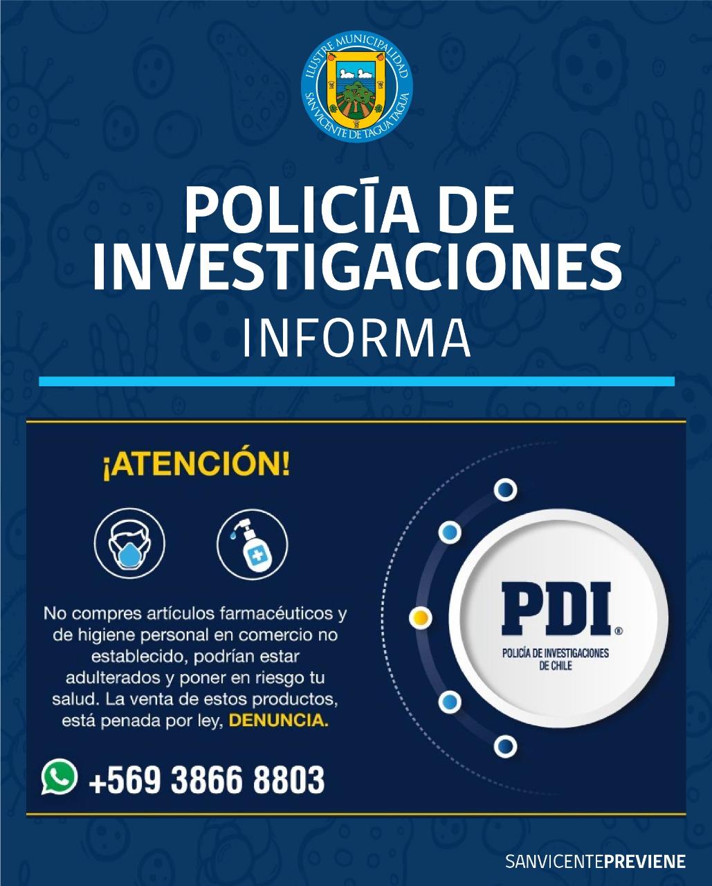 POLICÍA DE INVESTIGACIONES (PDI) INFORMA