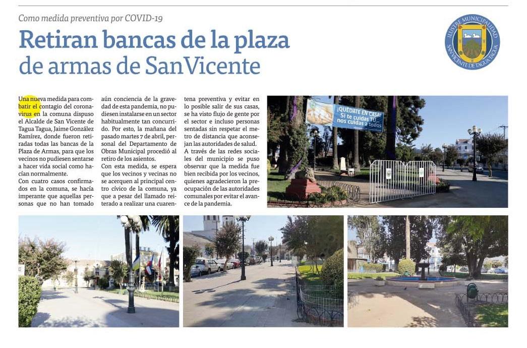 #ELTIPÓGRAFO| COMO MEDIDA PREVENTIVA POR COVID-19: RETIRAN BANCAS DE LA PLAZA DE ARMAS DE SAN VICENTE