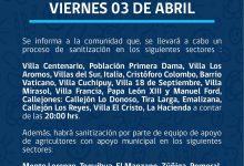 SE INFORMA SANITIZACIÓN PROGRAMADA PARA HOY VIERNES 3 DE ABRIL