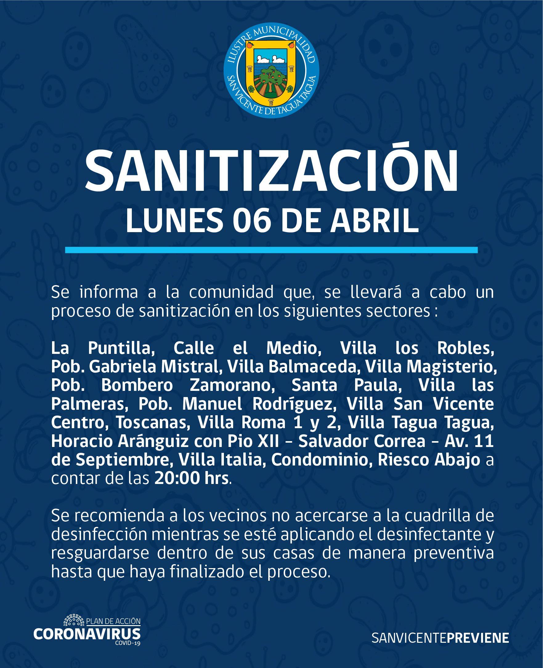 SE INFORMA SANITIZACIÓN PROGRAMADA PARA HOY LUNES 6 DE ABRIL