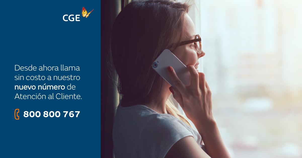 CGE LANZA NUEVO NÚMERO DE ATENCIÓN TELEFÓNICA SIN COSTO PARA SUS CLIENTES