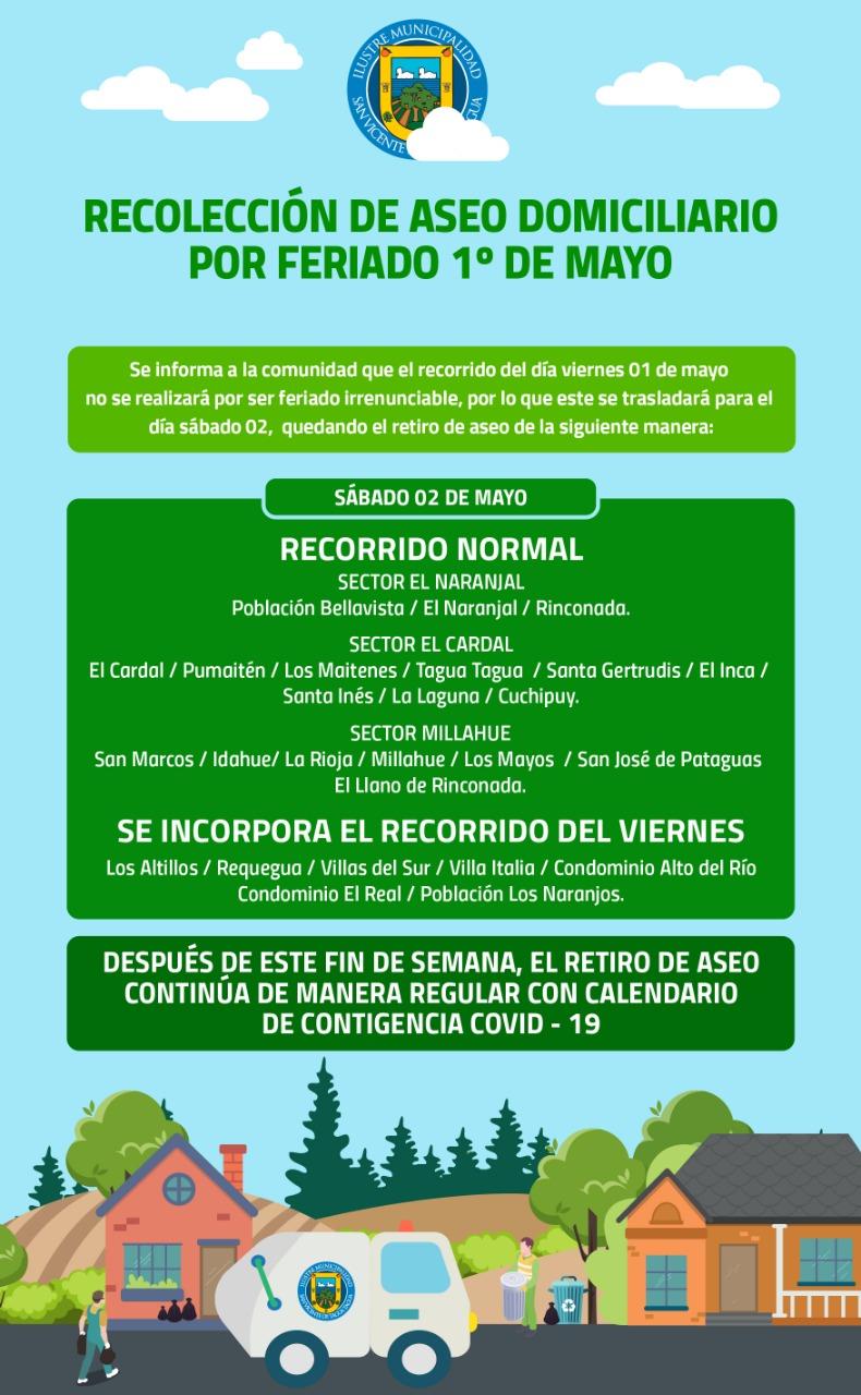 RECOLECCIÓN DE ASEO DOMICILIARIO FERIADO 01 DE MAYO