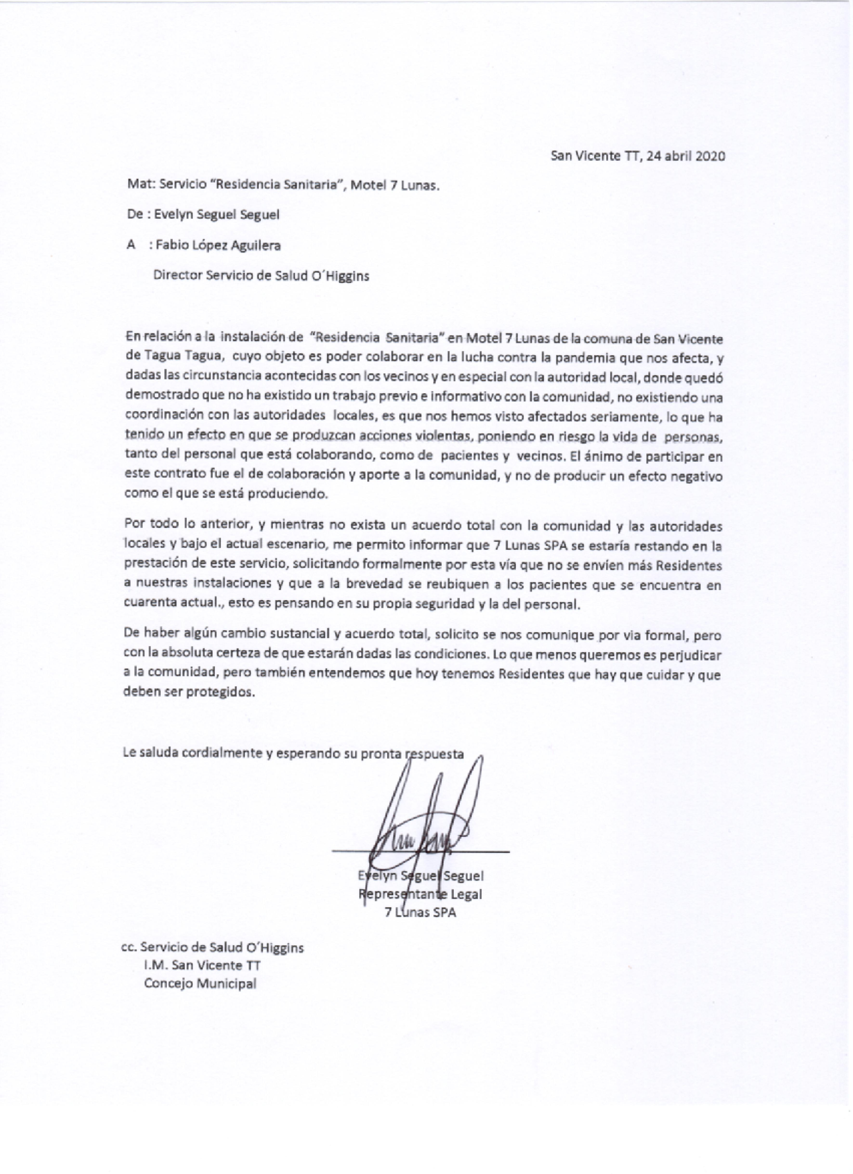 MOTEL 7 LUNAS DE REQUEGUA ENVÍA CARTA A LA DIRECCIÓN DE SALUD O'HIGGINS INFORMANDO QUE SE RESTAN DE PRESTAR EL SERVICIO DE RESIDENCIA SANITARIA EN SUS DEPENDENCIAS