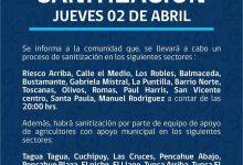 SE INFORMA SANITIZACIÓN PROGRAMADA PARA HOY JUEVES 2 DE ABRIL