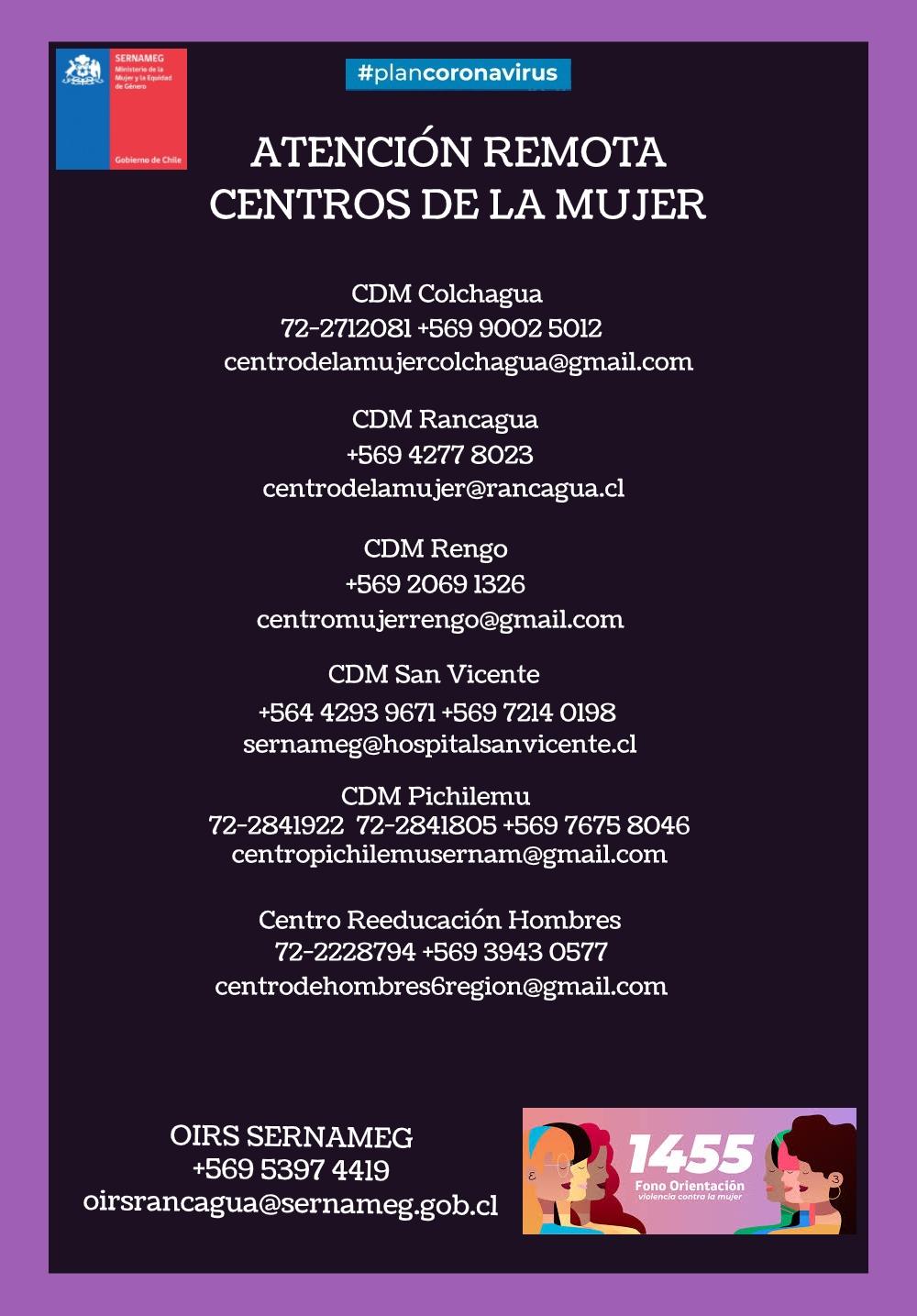 ATENCIÓN REMOTA DE LOS CENTROS DE LA MUJER EN LA REGIÓN DE O'HIGGINS