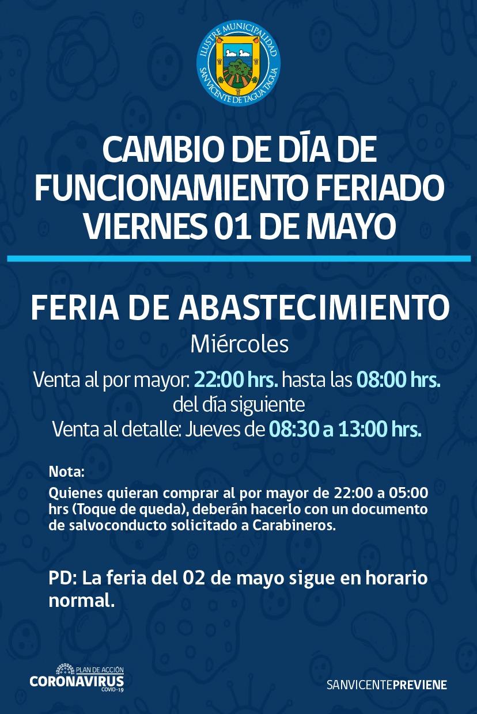 CAMBIO DE DÍA DE FUNCIONAMIENTO FERIA DE ABASTECIMIENTO POR FERIADO 1 DE MAYO