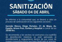 SE INFORMA SANITIZACIÓN PROGRAMADA PARA HOY SÁBADO 4 DE ABRIL