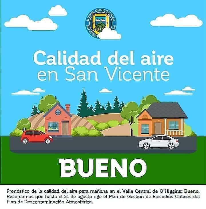 CALIDAD DEL AIRE EN SAN VICENTE DE TAGUA TAGUA LUNES 13 DE ABRIL: BUENO
