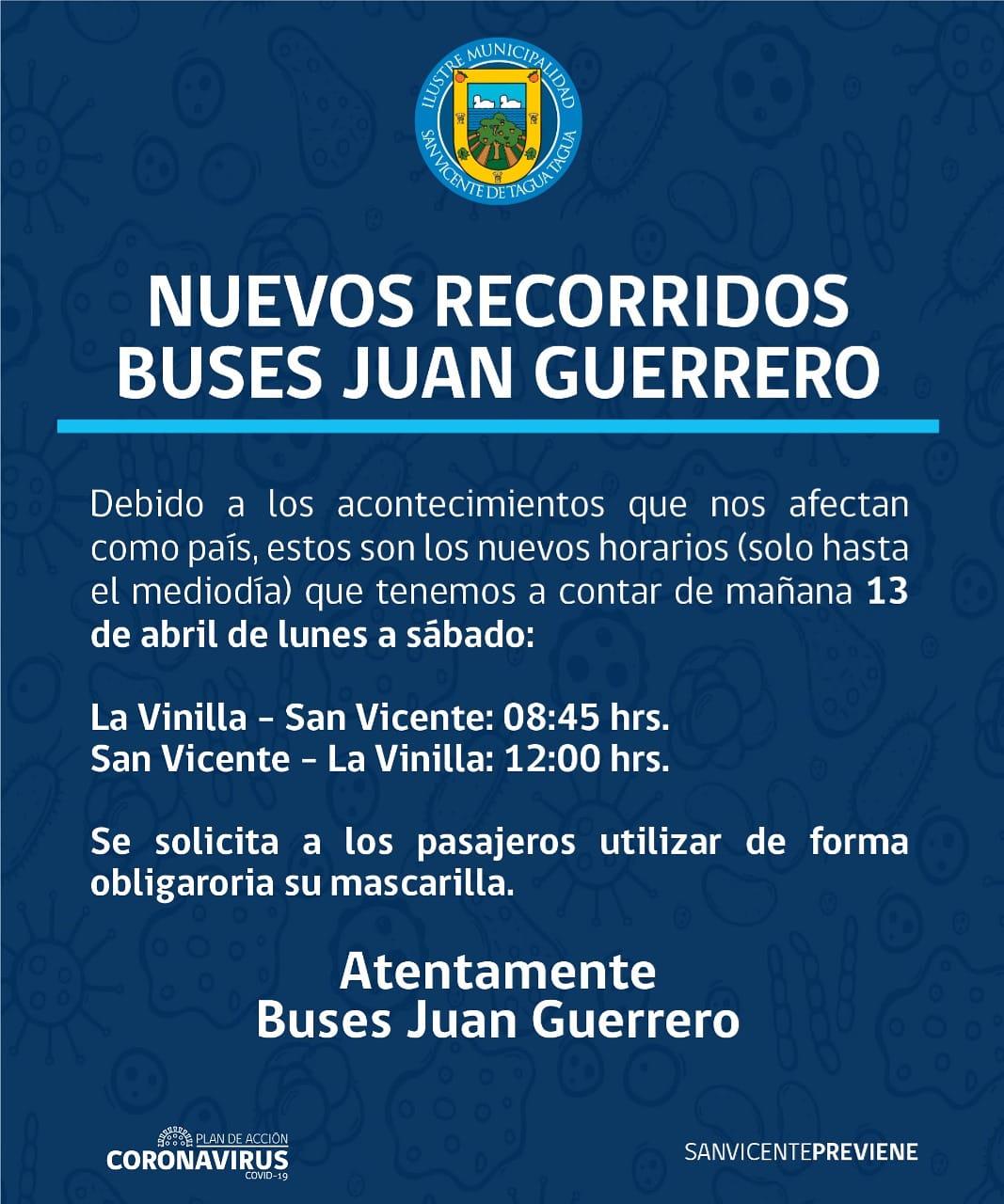 NUEVOS RECORRIDOS BUSES JUAN GUERRERO