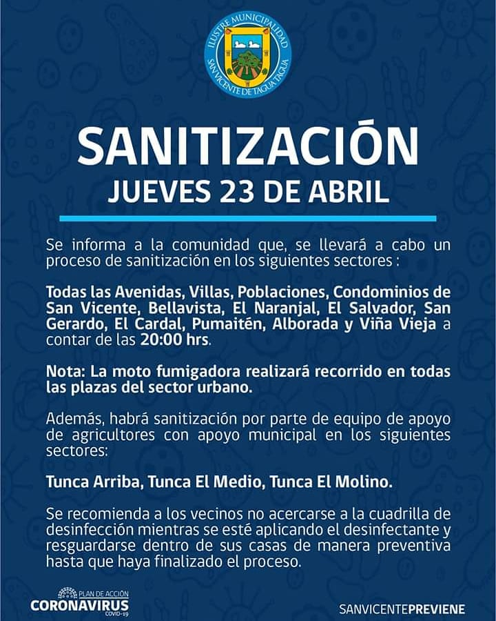 SE INFORMA SANITIZACIÓN PROGRAMADA PARA HOY JUEVES 23 DE ABRIL