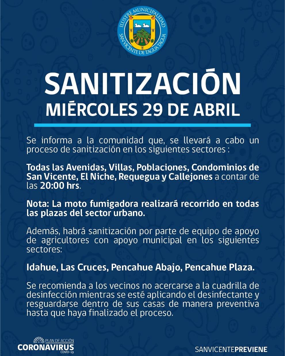 SE INFORMA SANITIZACIÓN PROGRAMADA PARA HOY MIÉRCOLES 29 DE ABRIL