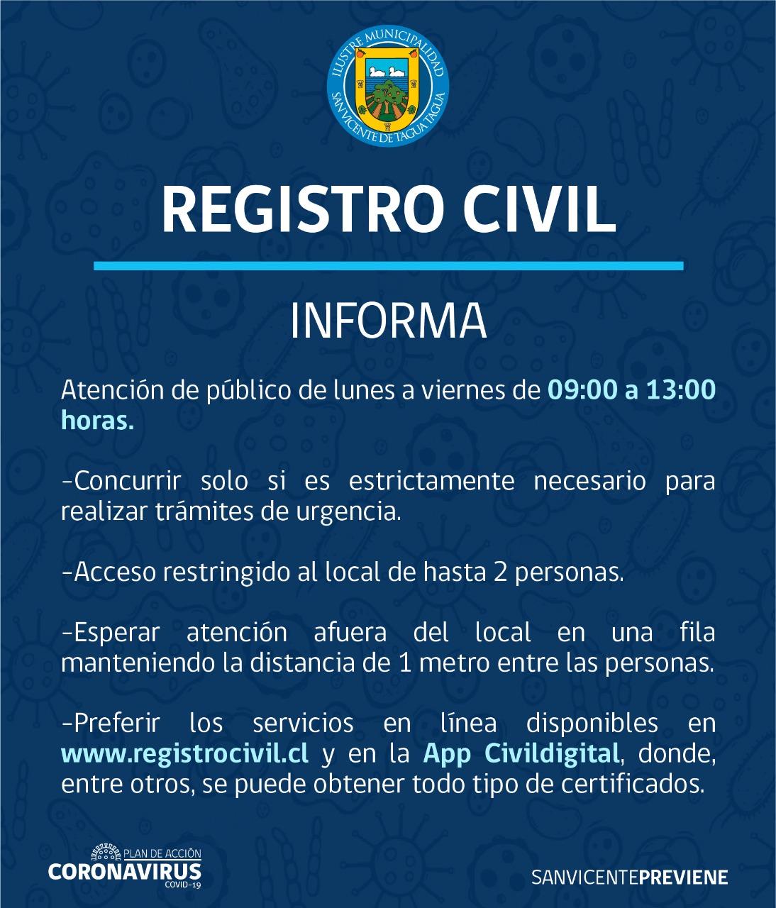 REGISTRO CIVIL INFORMA CON RESPECTO A ATENCIÓN DE PÚBLICO EN SAN VICENTE DURANTE CONTINGENCIA COVID-19