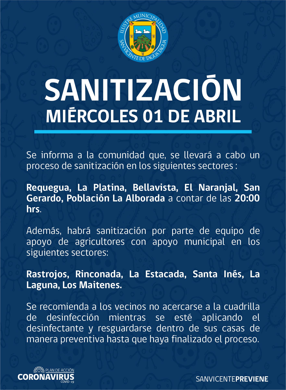 SE INFORMA SANITIZACIÓN PROGRAMADA PARA HOY MIÉRCOLES 1 DE ABRIL