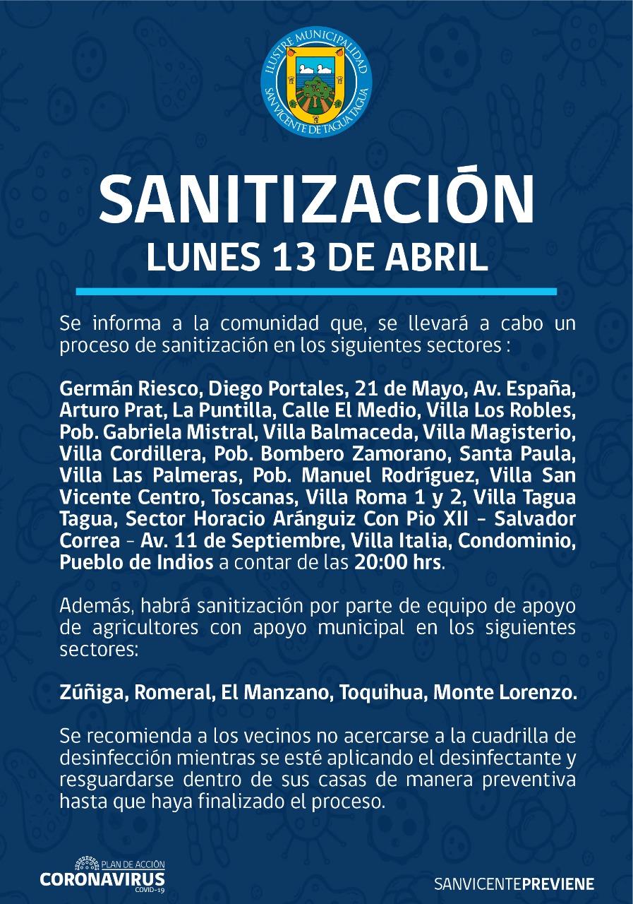 SE INFORMA SANITIZACIÓN PROGRAMADA PARA HOY LUNES 13 DE ABRIL