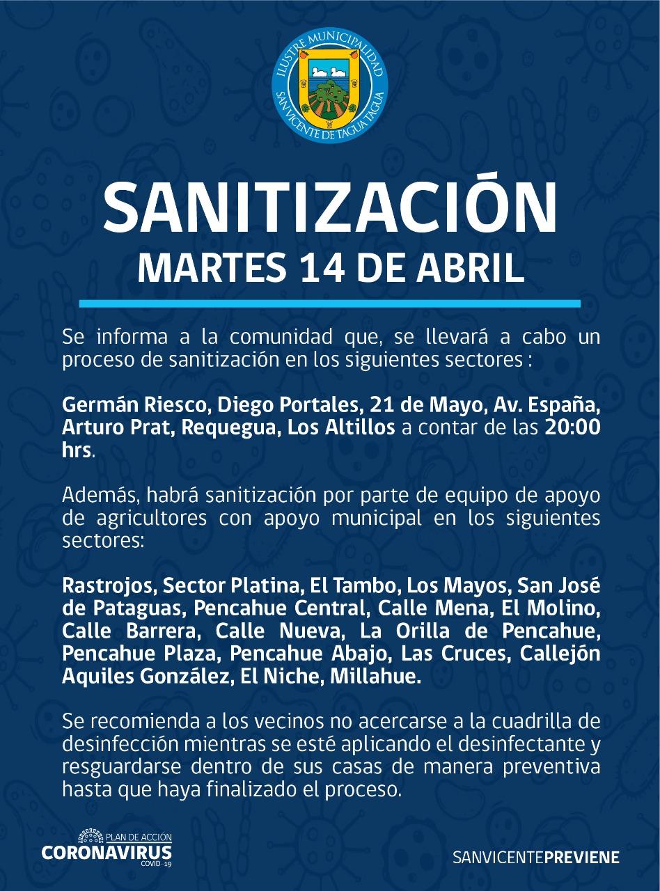 SE INFORMA SANITIZACIÓN PROGRAMADA PARA HOY MARTES 14 DE ABRIL