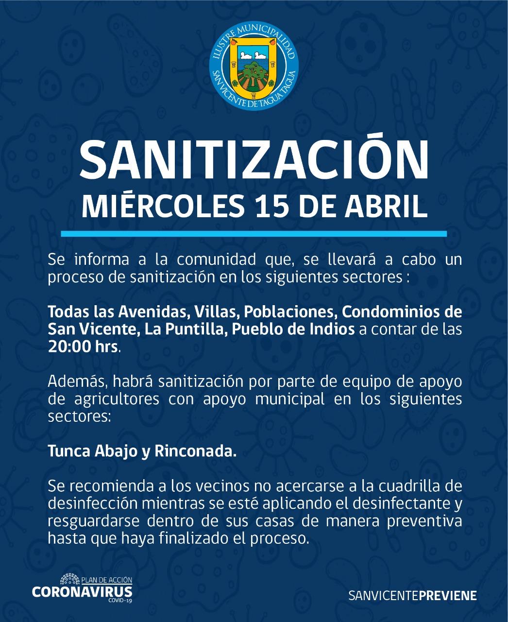 SE INFORMA SANITIZACIÓN PROGRAMADA PARA HOY MIÉRCOLES 15 DE ABRIL